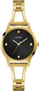 GUESS Gold-Tone + Black Genuine Diamond Watch with Self-Adjustable Bracelet. Color: Gold-Tone (Model: U1198L3)