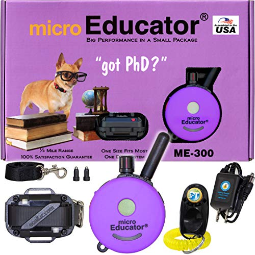 E-Collar - ME-300 - Waterproof Remote Trainer Micro Educator 1/3 Mile Range - Designed for Smaller Dogs - Static, Vibration and Sound Stimulation Collar with PetsTEK Dog Training Clicker