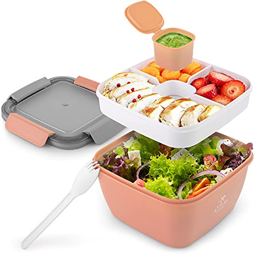 Zulay 52oz Salad Container For Lunch - BPA Free Leak Proof Salad Dressing Container To Go With Smart Lock Design - Salad Lunch Container With Dressing Container & Reusable Spork (Pink)
