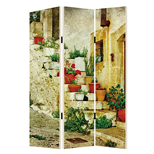 Best Bargain Benjara Foldable 3 Panel Canvas Screen with Spanish Tidings Print, Multicolor
