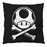 A.N.T. Another Nerd T-Shirt A.N.T. Toadskull Kissen mit Füllung 28 x 28 cm Baumwollbezug Mario Totenkopf Videospiel Konsole super World, Farbe:Schwarz