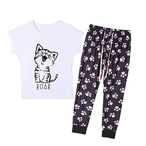 YIJIU Women's Cute Cartoon Cat Sleepwear Short Sleeve Top and Pants Pajama Set Black