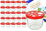 MamboCat 25er Set Sturzglas 230 ml to 82 Fliegenpilz Deckel rot weiß gepunktet incl. Diamant Gelierzauber Rezeptheft Marmeladenglas Einmachglas Einweckglas