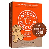 Oven baked dog treats – wholesome, oven baked, healthy dog Biscuits that keep things deliciously simple with natural peanut butter. Just 4 ingredients – Buddy Biscuits Dog Snacks are made with no added corn, soy, yeast, sugar, salt, fillers, artifici...