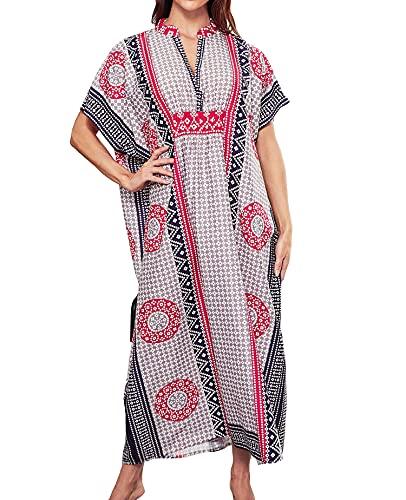 Hoperay Swimsuit Cover Ups for Women Beach Dresses, GreenEmbroidered Caftans Long Sleeve Floral Print Kaftans Side Split Summer Beachwear