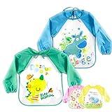 O³ Ärmellätzchen abwaschbar // 2 Baby Lätzchen mit Ärmeln // Bib für Mädchen oder Jungen wählbar // Babylätzchen wasserabweisend von 0-3 Jahren (Junge)