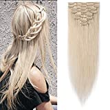Extension a Clip Cheveux Naturel - Rajout 100% Cheveux Humains Vrai Cheveux - 8 Mèches Volume de Base (#70 Blanc blanchi, 35cm = 60g)