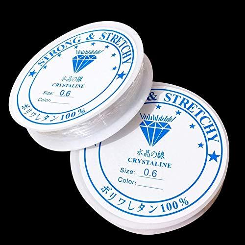 WEAVERBIRD 2 Stück Kristall Elastische Schnur 0.5mm Durchmesser Transpant Schmuckfaden Bastelschnur, DIY Schmuckherstellung