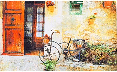 matches21 Fußmatte Türmatte Gummi Outdoor Decor rutschfest & wetterfest mediterranes Motiv Fahrrad & Haus - 45x75 cm