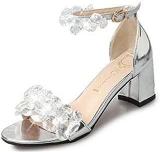 Girllike Women Beaded Diamond Ankle Strap Block Chunky Heel Dress Platform Sandal