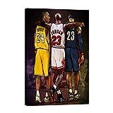 Modern Basketball Wall Posters NBA Legends Lebron James, Michael Jordan & Kobe Bryant Gym Canvas Artwork Framed Ready to Hang for Office Home Decor - 24''W x 36'H