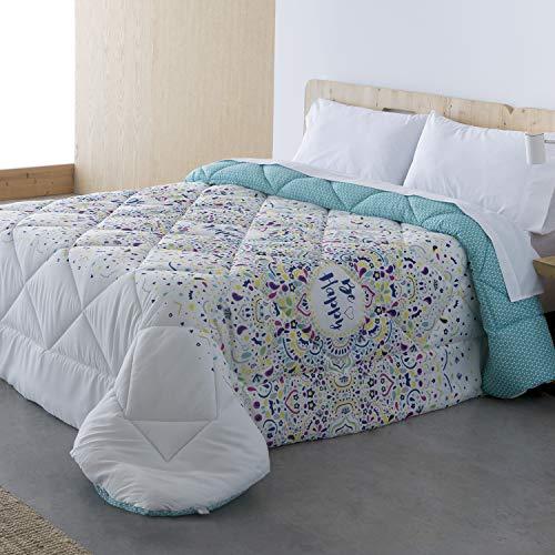 Barceló Hogar - 💙 Edredón Conforter Reversible Happy - Edredón Estampado de 350 gr, Edredón Juvenil 180x270, Edredón Cama 90 Invierno.