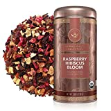 Teabloom Organic Herbal Tea, Raspberry Hibiscus Bloom Loose Leaf Tea, Fragrant and Fruity with Natural Berries, USDA and EU Certified Organic, Fresh Whole Leaf Blend in Reusable Gift Canister, 3.88 oz/110 g Canister Makes 35-50 Cups