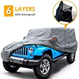 """Big Ant Car Cover for Jeep Wrangler CJ,YJ, TJ & JK 4 Door All Weather Protection Waterproof SUV Cover Customer Fit for Jeep Wrangler with Driver Door Zipper up to 190"""" L,Gray"""