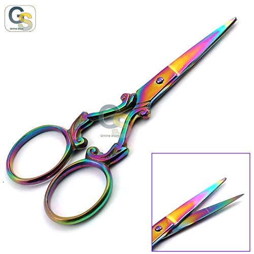 """G.S Multi Titanium Color Rainbow Sewing Embroidery Scissors 3.5"""" Various Styles Best Quality"""