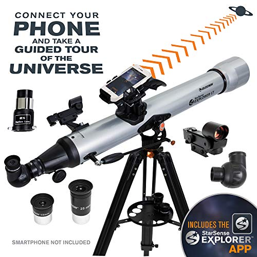 Celestron – StarSense Explorer LT 80AZ Smartphone App-Enabled Telescope – Works with StarSense App to Help You Find Stars, Planets & More – 80mm...