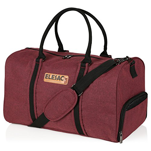 EleSac Canvas Style Duffel Bag for Men and Women with Shoe Compartment – Weekend Bag for Gym Overnight Baggage Carry On Hand Luggage and Short Trips, Travel Duffel Express Red/Black