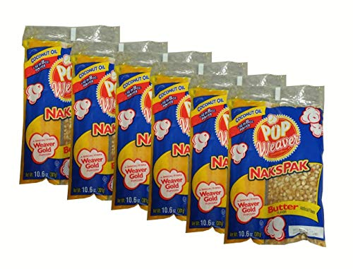Best Deals! Pop Weaver | Naks Pak | Popcorn Portion Kits for 8 Ounce Popper | Pack of Six