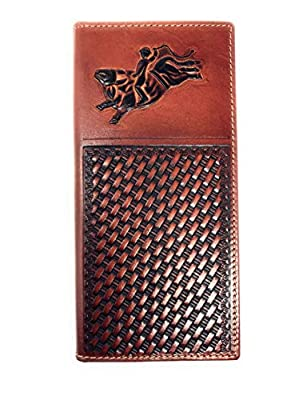 Premium Genuine Western Mens Embossed Basketweave Cowboy Long Wallet in Multi Emblem (Rodeo Brown)