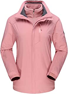 Mountain Wear for Women Waterproof Jacket Removable Liner Windproof Lovers Suit Ski Suit (Color : Pink, Size : XXL)