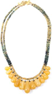 Yellow Opal Drop Ombré Blue and Yellow Sapphire Statement Necklace - 19 Inches Long Handmade Necklace by Miller Mae Designs