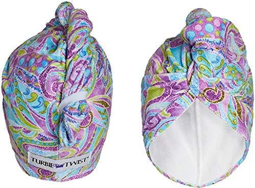 Turbie Twist Super Absorbent Microfiber Hair Towel Wrap - Hands Free Hair Drying Towel - 2 Pack (Purple Paisley)