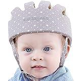IULONEE Casco de protección para bebé, gorra protectora para cabeza de bebé, gorra de algodón ajustable(Gris nieve)