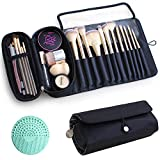Makeup Brush Bag, Travel Makeup Brush Case Makeup Brush Holder Organizer Cosmetic Bag Portable Roll Up Brush Storage Bag for Makeup Brushes and Cosmetic Essentials (Black)