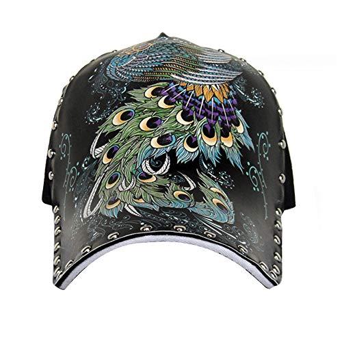 Gorra de béisbol unisex del pavo real del remache Impreso Hip Hop con el sombrero ajustable para mujeres y hombres (Ropa)