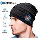 Bluetooth Beanie, Gifts for Man, Bluetooth hat Fashion Winter Hats Built-in Stereo Speaker Unique Christmas Tech Gag Gifts for Men/Women/Teen Boys/Teen Girls (Black)