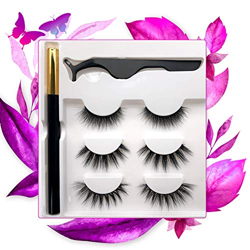 Faux Mink Eyelashes and No Magnetic Eyeliner No Glue Eyeliner,No Magnetic Eyelash,3 Pairs Reusable Natural Look 3D Mink lashes and A Magic Eyeliner with A Tweezers Kit,No Glue Needed,Easy to Wear