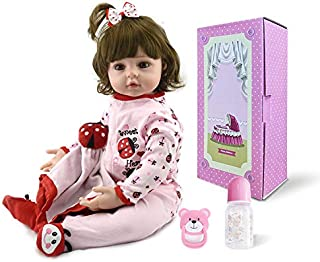 Pinky 22inch 55cm Reborn Baby Girl Dolls Realistic Looking Newborn Baby Doll Toddler Soft Silicone Babies Lifelike Reborn Doll Toy Cute Birthday and Xmas Gift