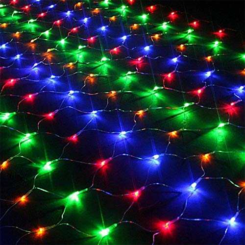 EONYUANGUO Solar Net String Lights, 200LEDs 3m*2m Balcony Fence Mesh Fairy Light with 8 Modes Net Mesh String Lights for Window Wall Sweetheart Table Background Camping Beach (Multicolor)