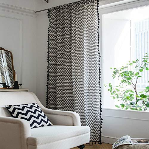 CXL Cortina Triángulo Gris Cortina Estampada de Dormitorio Cortinas flotantes Semi-sombreadas de algodón y Lino Perforadas
