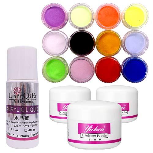 Warm Girl 3 colors Nail Acrylic Powder pink clear white + 75ml Acrylic Liquid Tips Set acrylic nail Kit by Warm Girl
