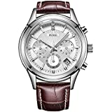 BUREI Men's Elegant Chronograph Watch Brown Leather Strap Business Luxury Sport