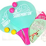 VIAHART Surfminton Classic Mint and Pink Beach Tennis Wooden Paddle Game Set (4 Balls, 2 Thick Water Resistant Wooden Rackets, 1 Reusable Mesh Bag)   New and Improved Fall 2019!