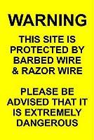 警告このサイトは保護されています 金属板ブリキ看板警告サイン注意サイン表示パネル情報サイン金属安全サイン
