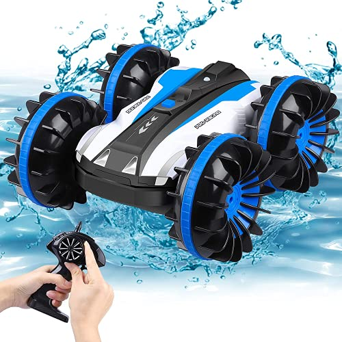 Remote Control Car Waterproof Stunt Car - 2.4Ghz 4WD Off Road Water & Land RC Cars-Double Sides Stunt Car with 360° Flips Racing Car Toys Indoor/Outdoor Toy for Kids Birthday Gift - Small Size