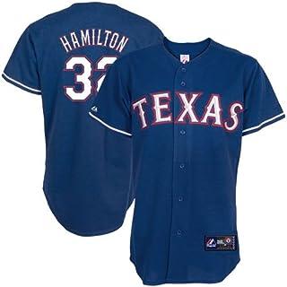 MLB Men's Texas Rangers Josh Hamilton Royal Alternate Short Sleeve 6 Button Synthetic Replica Baseball Jersey (Royal, XX-L...