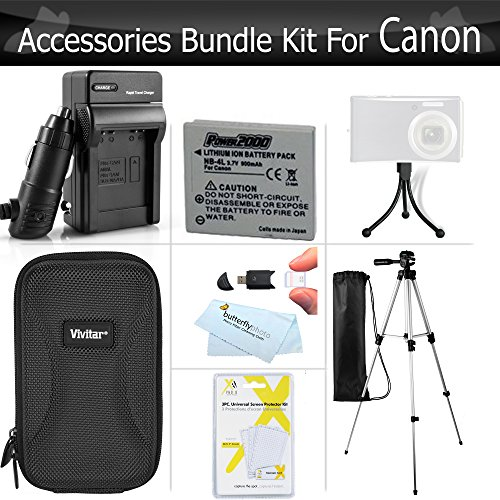 Essential Accessories Bundle Kit For Canon PowerShot ELPH 330 HS, ELPH 100 HS , ELPH 300 HS, ELPH 310 HS Digital Camera Includes 50 Inch Tripod + Extended (900 maH) Replacement Canon NB-4L Battery + A