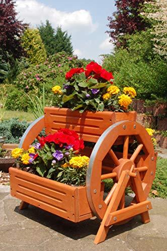Deko-Shop-Hannusch Blumentreppe, Blumenbank, Pflanztreppe 60cm Breite aus Holz, vollständig behandelt in braun