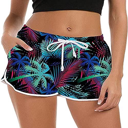 ZIOOER Bañador para mujer de verano, con gráficos 3D, secado rápido, pantalones cortos para playa, pantalones cortos para jogging y yoga, tallas S-XL verde XL