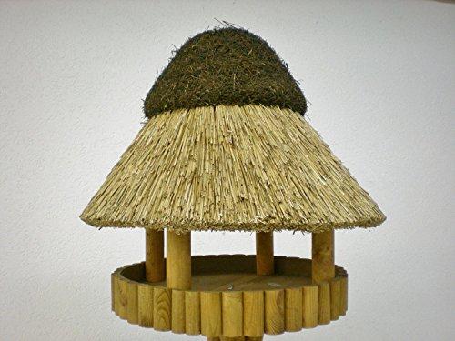 Vogelvilla Masuren, Vogelhaus, Futterhaus, Reetdach mit Ständer, Kiefer 85x195cm - 9