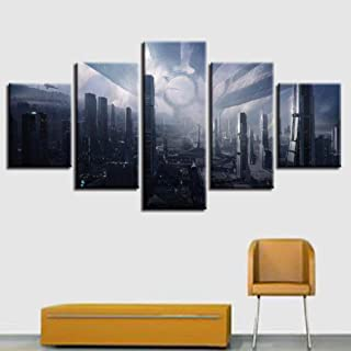 sasdasld Canvas Prints Paintings Wall Art Frame 5 Pieces Mass Effect Citadel Pictures Home Decor Modular Fantasy Game Cityscapes Posters-20CMx35/45/55CM
