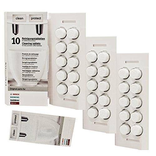 Bosch Reinigungstabletten für Kaffeevollautomaten und Thermokannen, TCZ6001, 3er Pack, 3 x 10 Tabletten