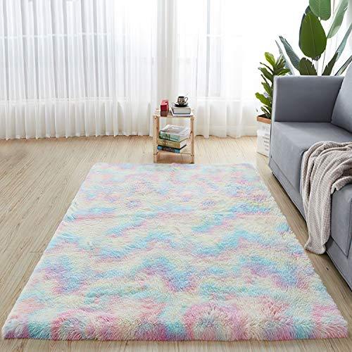 QUANHAO Teppich Wohnzimmer, super weicher Plüschteppich, Flauschiger Teppich, schöner Flauschiger Schlafzimmerteppich, geeignet für die Heimdekoration, Kindersofakissen(bunt, 120 x 160 cm)