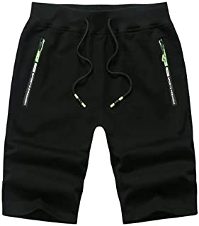 Thobisy Mens Shorts Casual Cotton Workout Elastic Waist Short Pants Drawstring Beach Shorts with Zipper Pockets