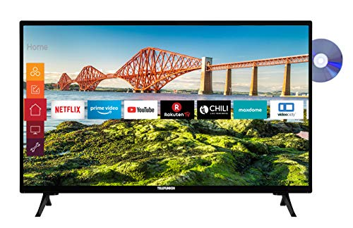 Telefunken XH24J501VD 24 Zoll Fernseher (Smart TV inkl. Prime Video / Netflix / YouTube, HD ready, DVD-Player, 12 Volt, Works with Alexa, Triple-Tuner) [Modelljahr 2021]