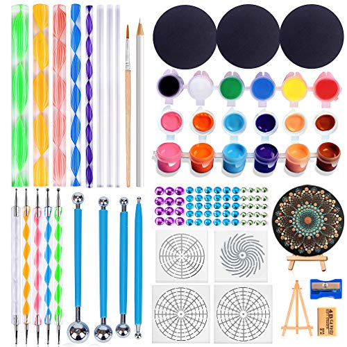 LicLiz 32pcs Mandala Dotting Tools Set with 12-Color Acrylic Paint-Stencil Painting Tools Stylus Kits, Include Pencil Sharpener,Cardboards,Brush,Eraser,Easel for Rock Painting and Drafting Crafting